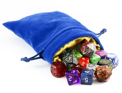 dice bag blue gold velvet