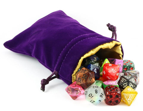 velvet dice bag purple gold
