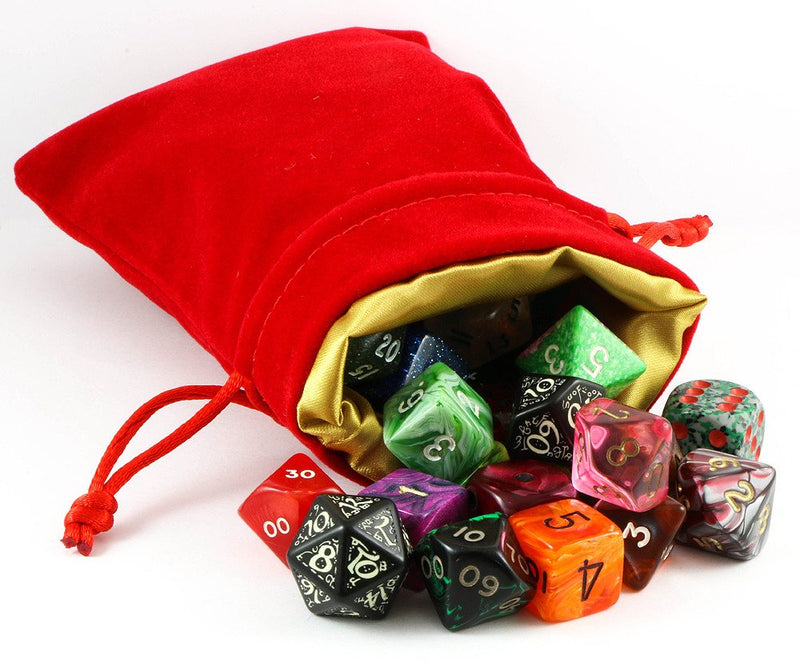 dice bag velvet red gold