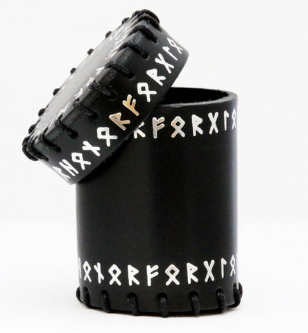 Runic dice cup black leather