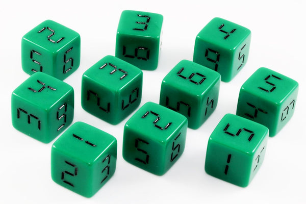 Digital d6 dice green