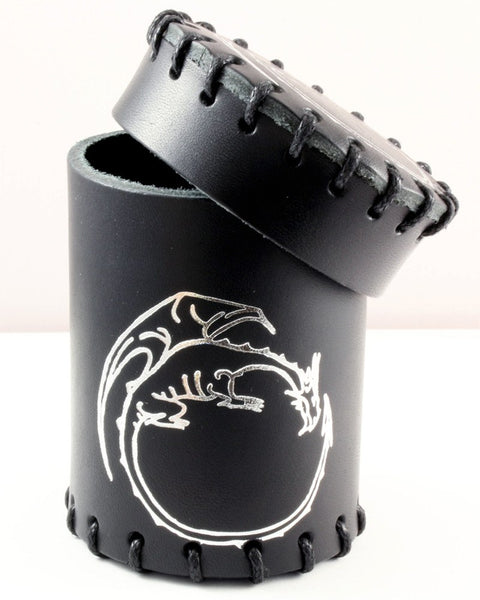 black leather dragon dice cup
