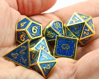 enamel metal dice blue and gold