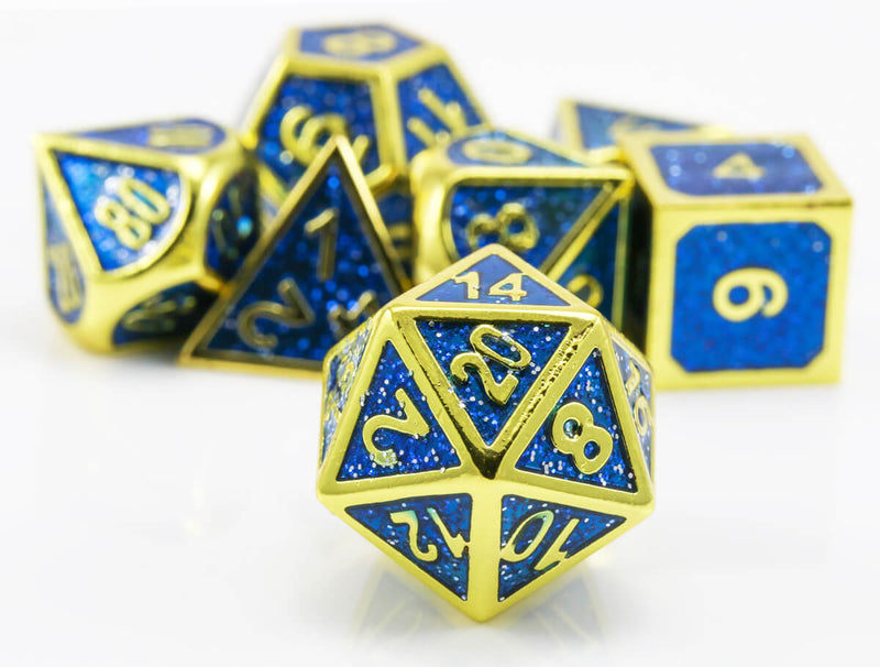 rpg dice blue and gold