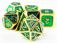RPG Dice Green and Gold