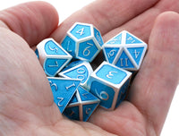 Metal Enamel Dice Ocean Blue