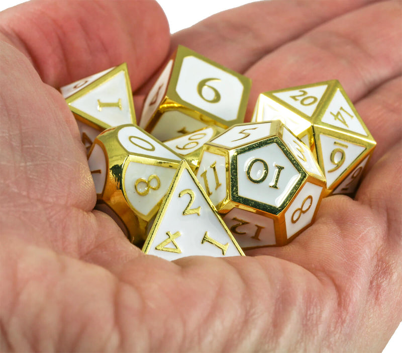 Enamel Dice (Angelic White And Gold) |  Metal RPG Role Playing Game Dice