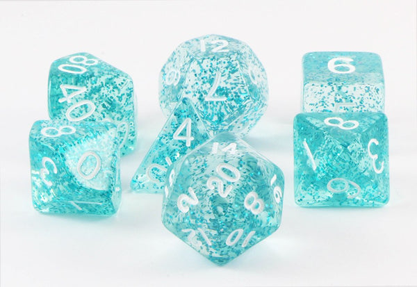 glitter ethereal dice light blue