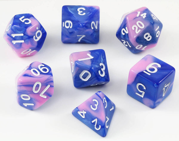 Pink and Blue DnD dice