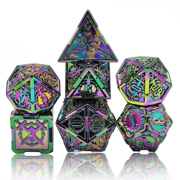 Flame torched rainbow dice