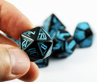 d20 Galactic dice black blue