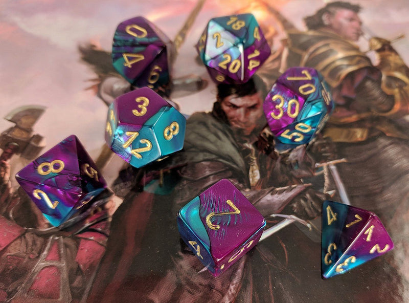 RPG Dice purple and teal