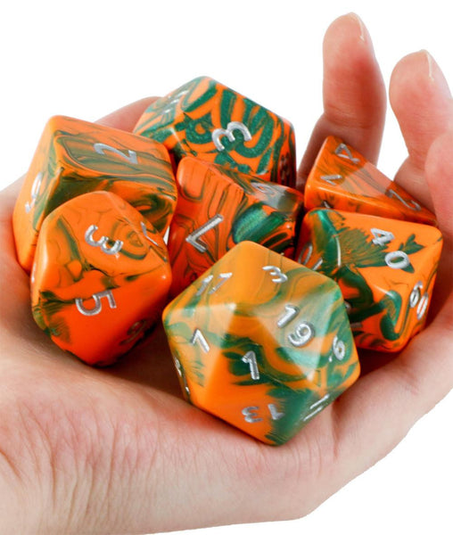 Toxic Giant Dice (Orange Green) | 35mm RPG Role Playing Game Dice