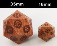 Giant wood dice size comparison