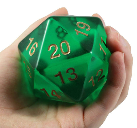 giant d20 emerald green dice
