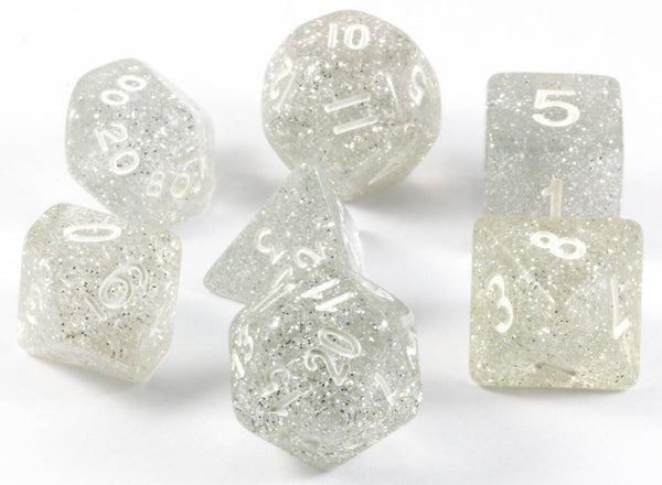 Glitter RPG Dice Clear