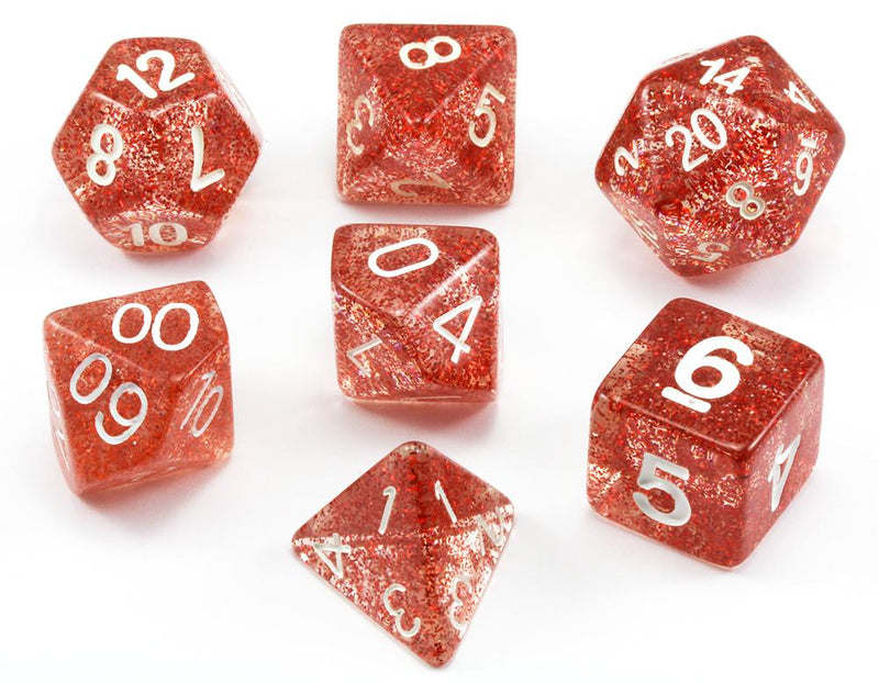 D&D Dice Glitter Red