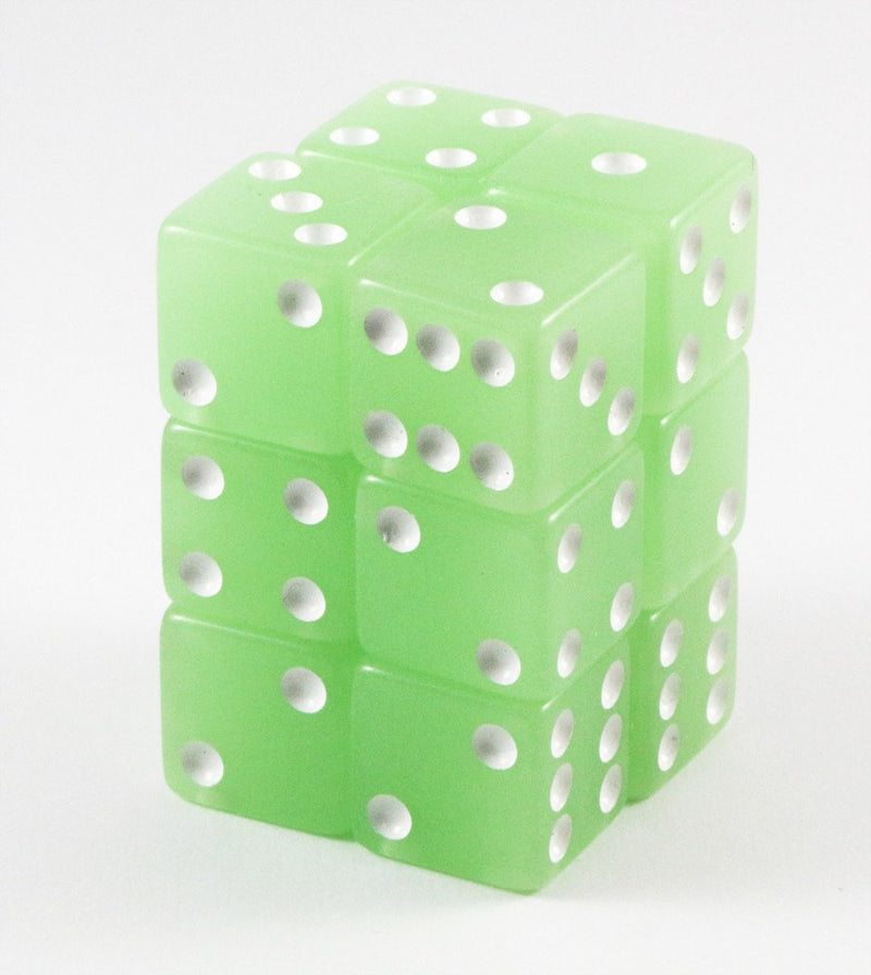 lime green d6 dice glow in the dark