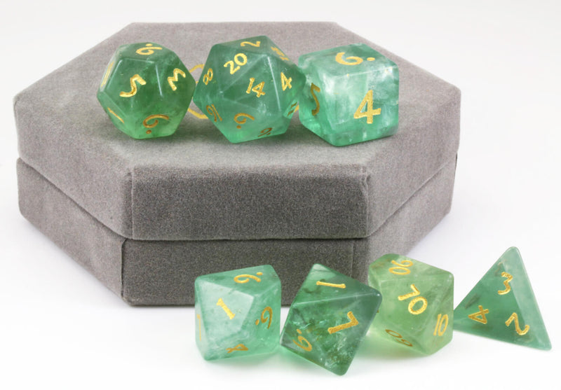 Green Fluorite Dice For DnD 3