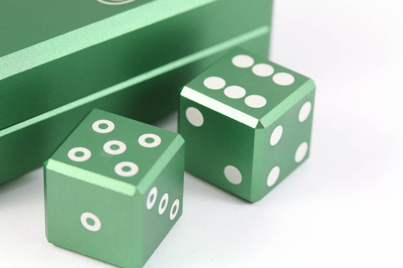 Aluminum d6 dice Emerald Green