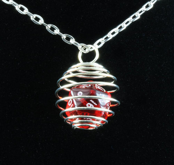 Mini D&D dice necklace red