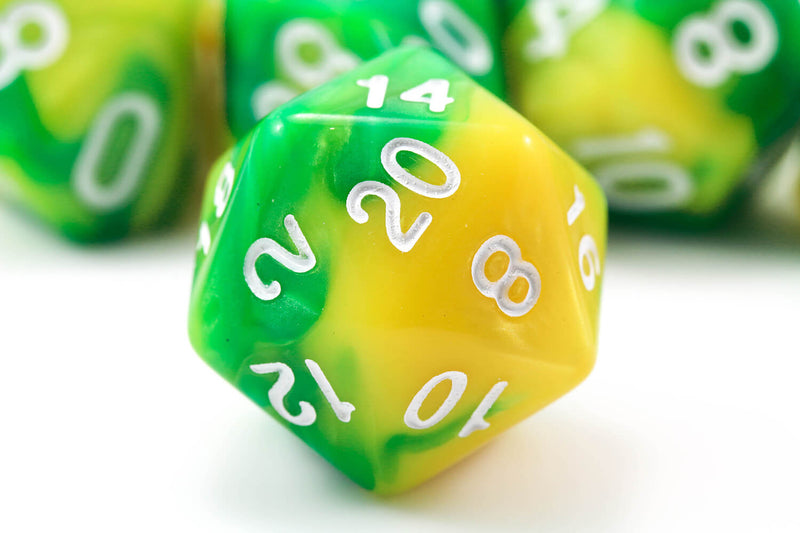 Green and yellow d20