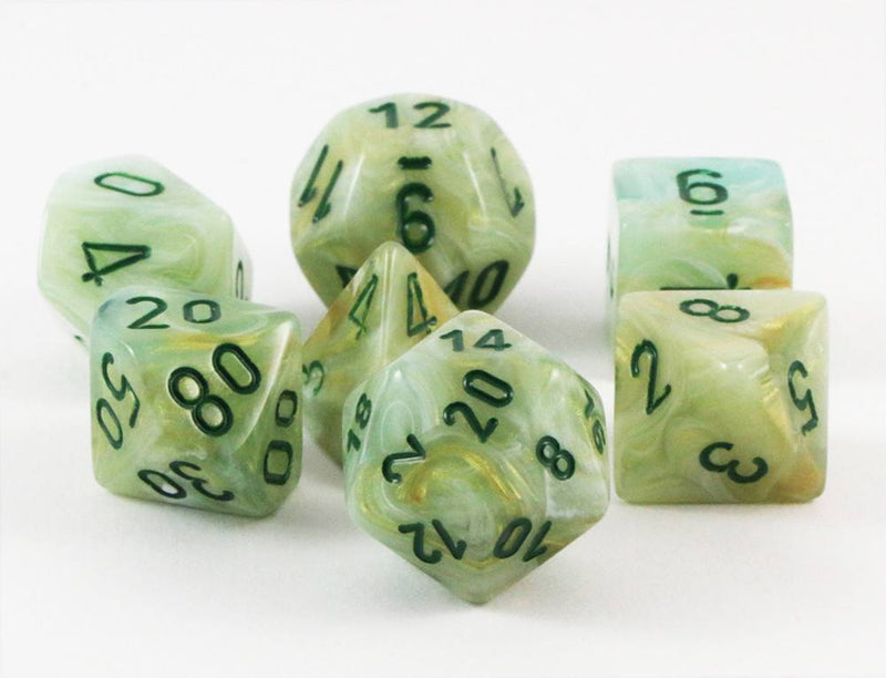 marble dice green