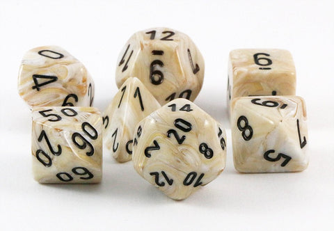 marble dice ivory