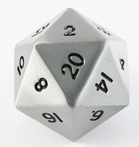 giant d20 metal antique silver dice