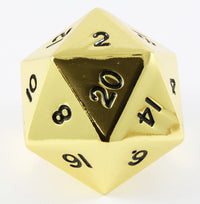 giant metal d20 gold dice