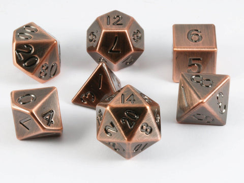 metal dice antique copper
