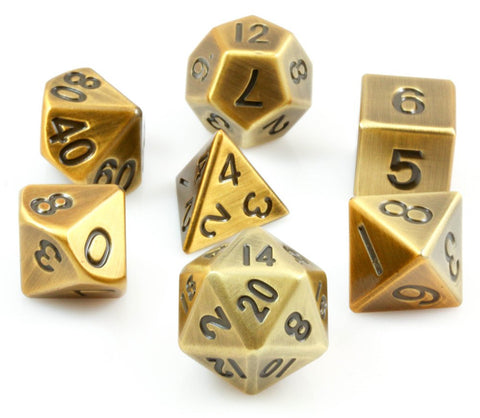 metal rpg dice antique gold