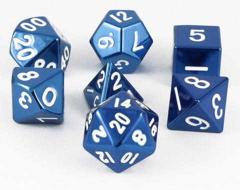 metal dice blue