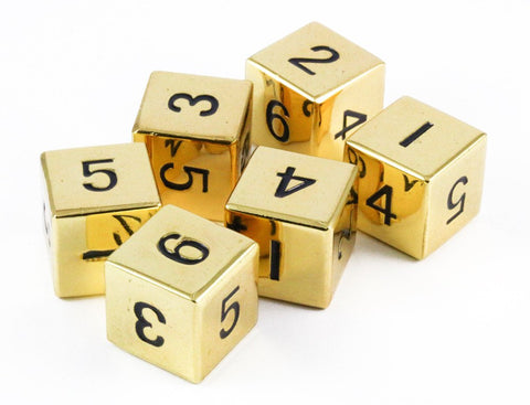 metal d6 dice gold