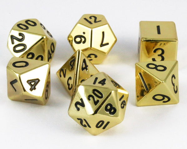 metal dice gold hue