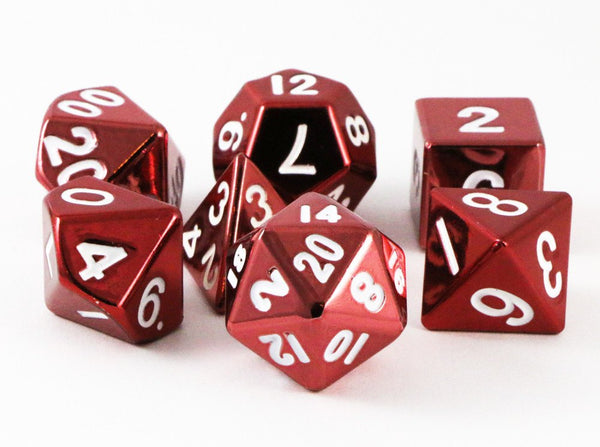 metal dice red
