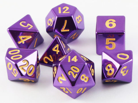 metal rpg dice purple