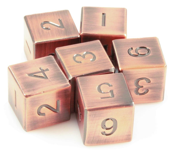 antique copper d6 metal dice