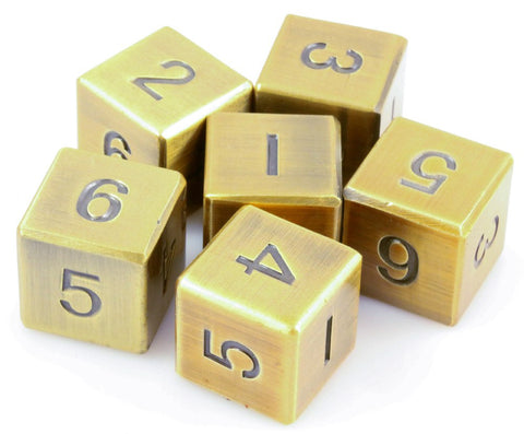 metal dice d6 antique gold
