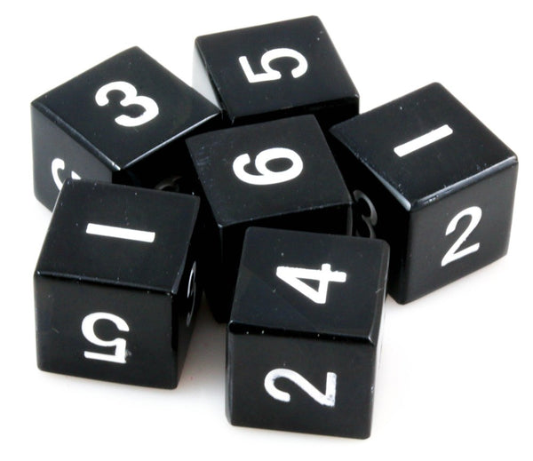 metal d6 dice black