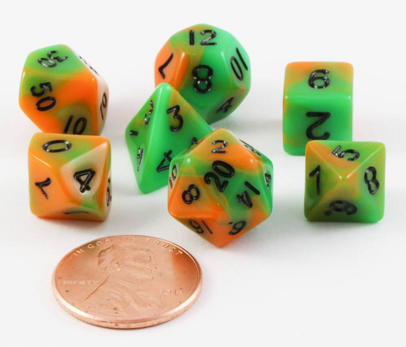 mini dice orange green