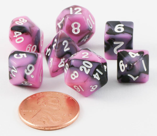 mini rpg dice pink black