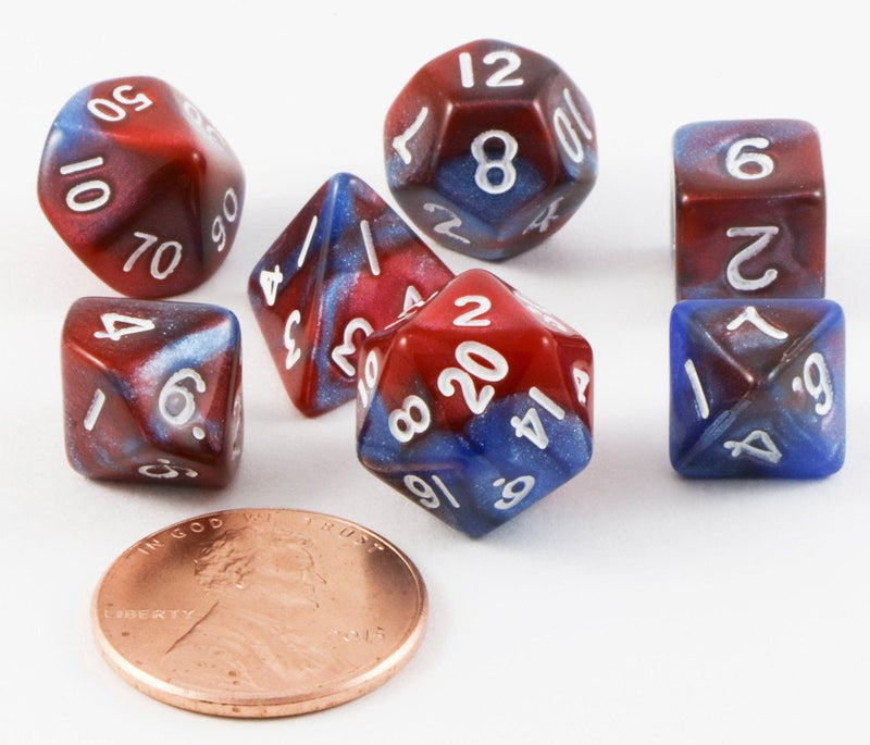 mini rpg dice red blue