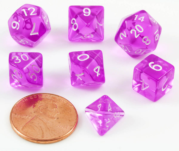 Mini D&D Dice Translucent Purple