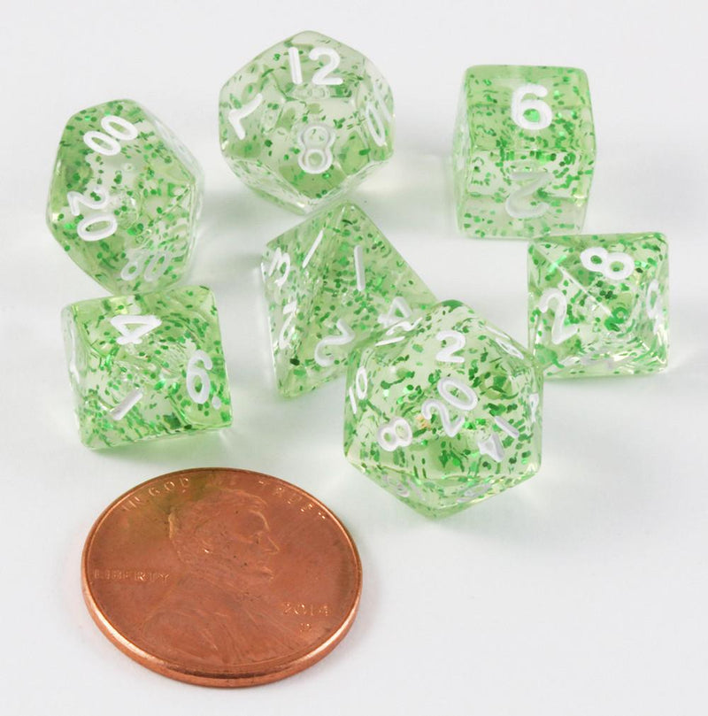 Mini Glitter Dice Ethereal Green
