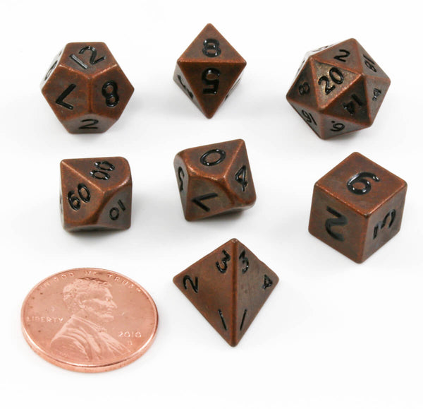 Mini DnD Dice Antique Copper Metal