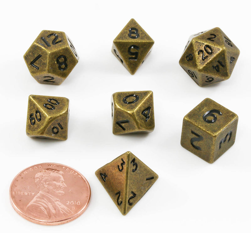 DnD Dice Metal Mini Antique Gold