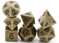 Miniature Metal RPG Dice Antique Gold