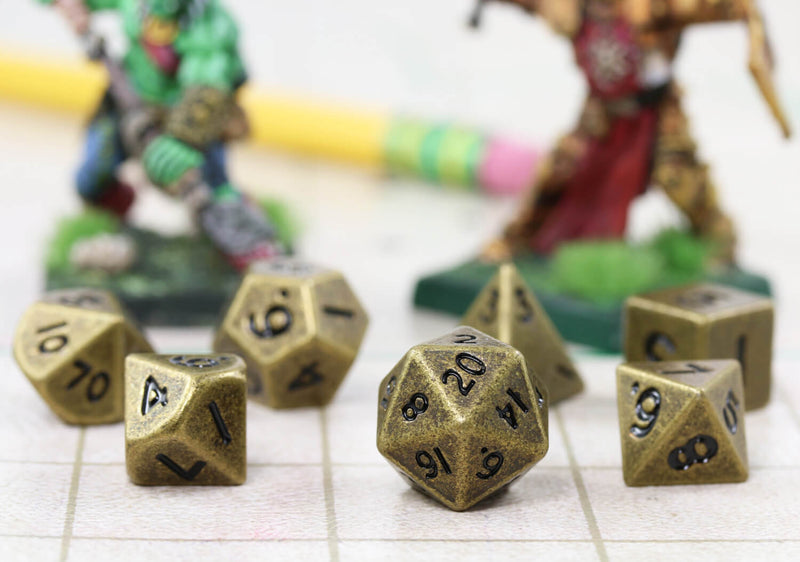 Mini DnD Dice Antique Gold Metal