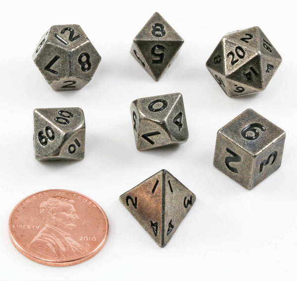 Miniature Metal RPG Dice Antique Silver